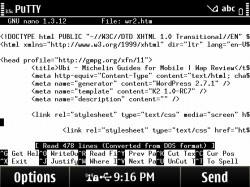 Symbian PuTTY Touch UI