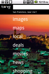 Bing Mobile Homepage