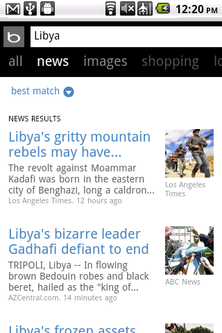 Bing Libya News Search
