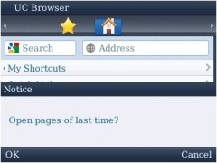 UC Browser for BlackBerry - Reopen Last Page Prompt