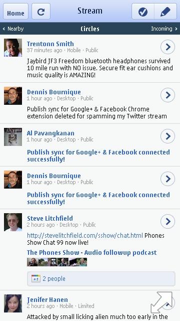 Google Plus Rich Mobile Version Circles Timeline - Symbian^3 Browser