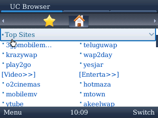 UC Browser for BlackBerry Start Page Navigation 2