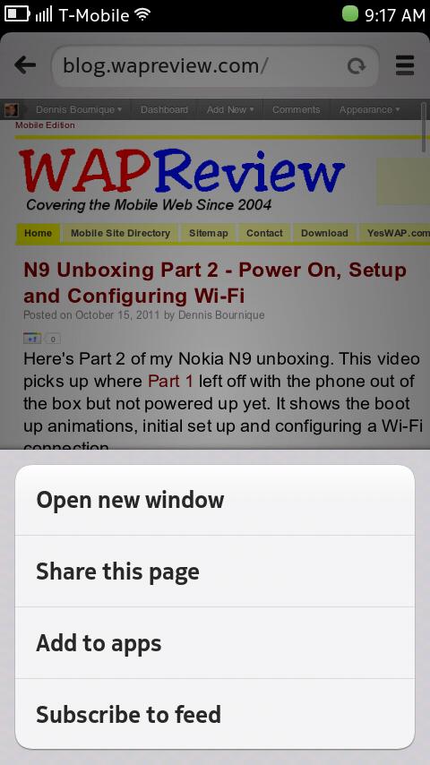 Nokia N9 Browser - Main Menu