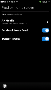 Nokia N9 Events Feed Settings