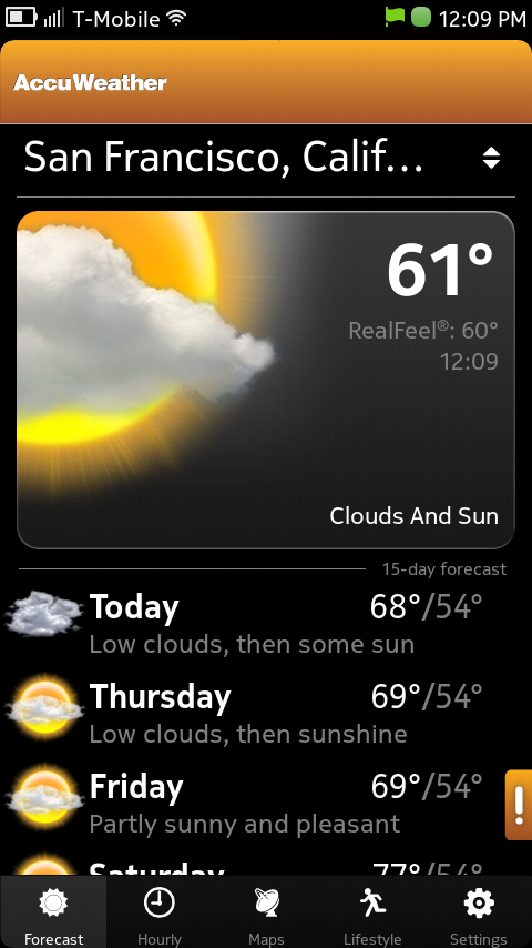 Nokia N9 Pre-Installed Accuweather App
