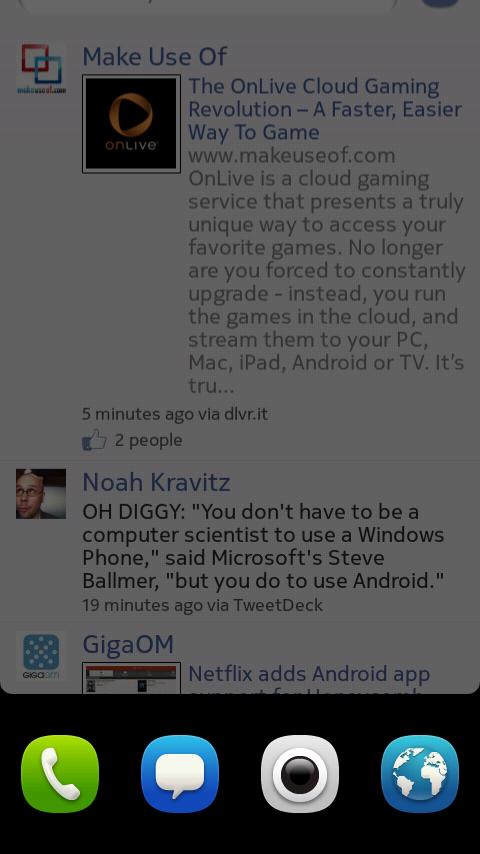 Nokia N9 QuickBar