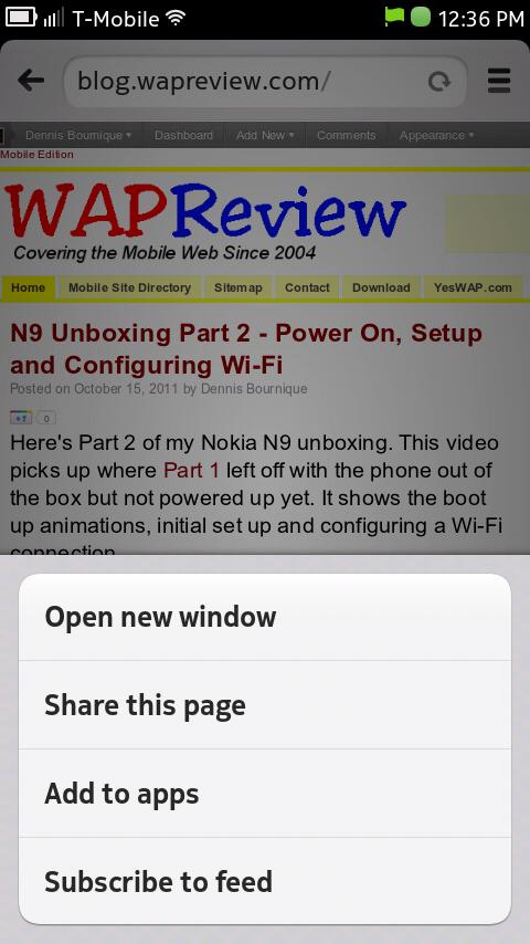 Nokia N9 Browser Menu