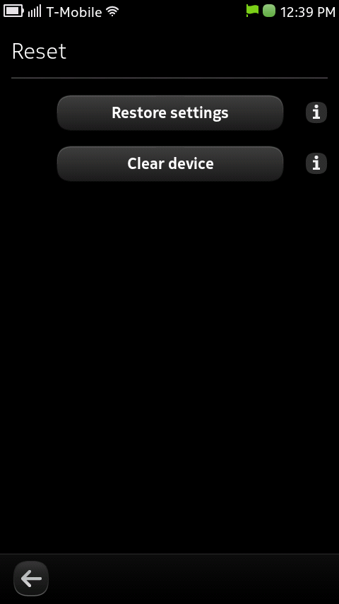 Nokia N9 Reset Screen