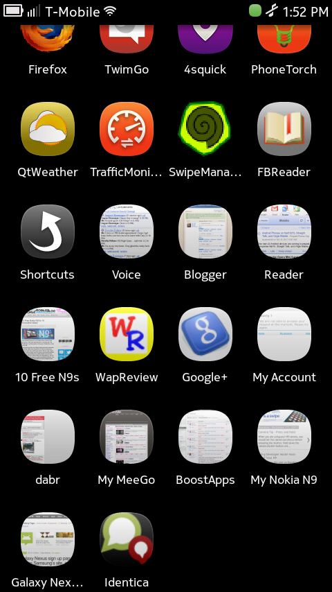 Nokia N9 Applications Homescreen Showing Webapp Icons