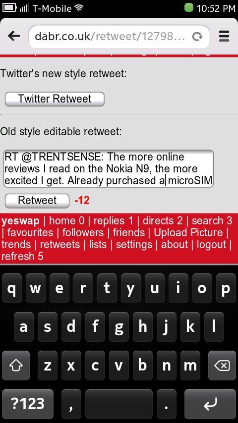 Nokia N9 Browser - Dabr Twitter Client, Editable ReTweet Textarea Is Not Scrollable!