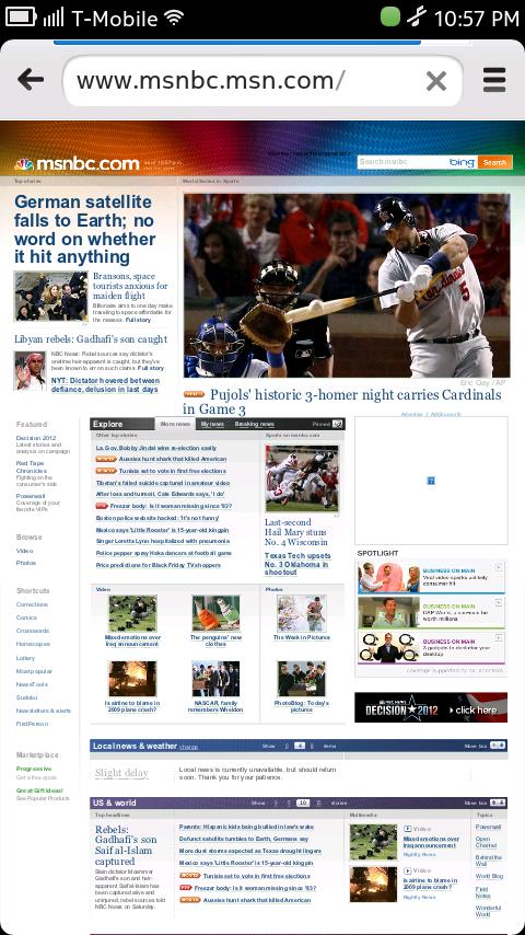Nokia N9 Browser - MSNBC Homepage