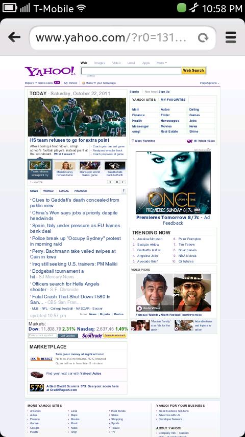 Nokia N9 Browser - Yahoo Homepage