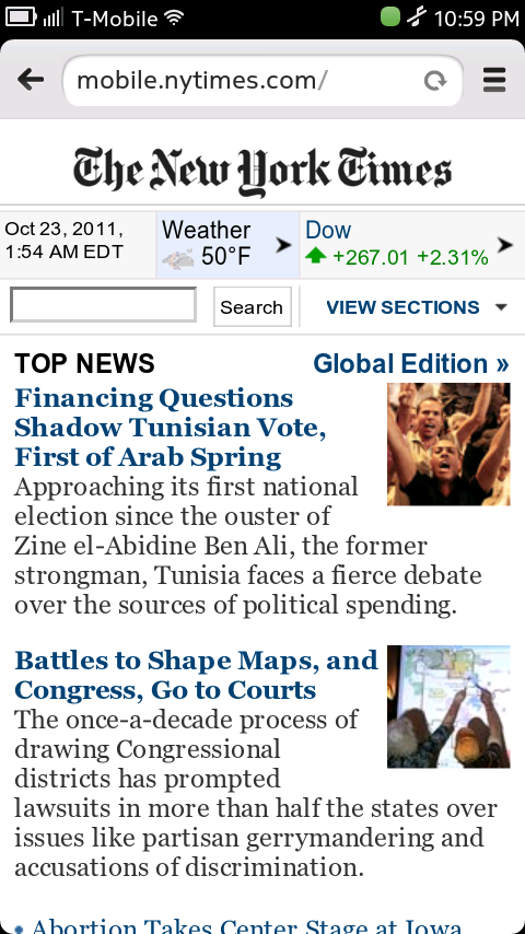 N9 Browser - New York Times Mobile