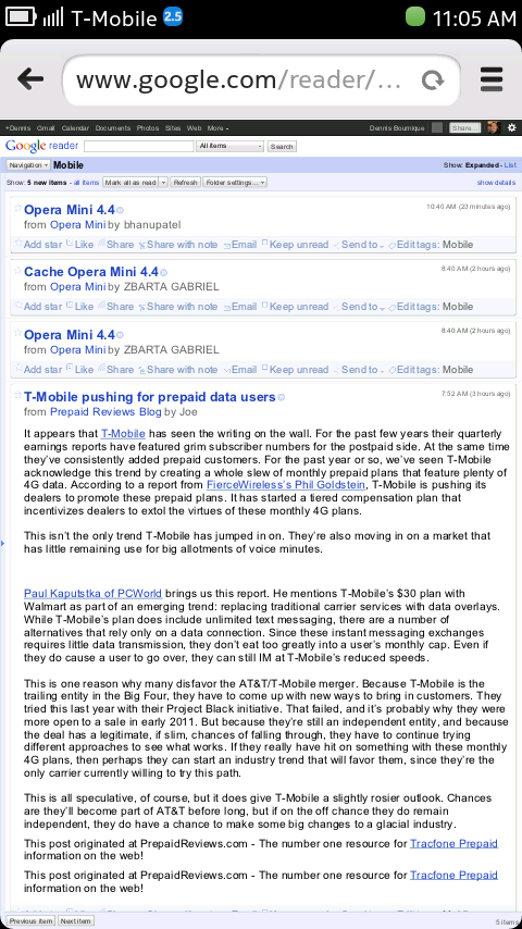Nokia N9 Browser - Google Reader (desktop version)