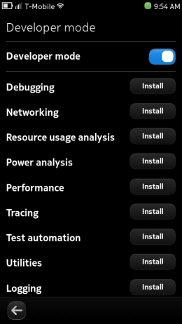 Nokia N9 - Developer Mode Toggle
