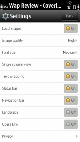 Opera Mini 6.5 (Symbian) Status bar and Navigation toggles are new