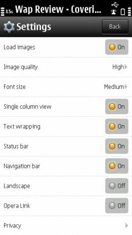 Opera Mini 6.5 (Symbian) Status bar and Navigation toggles are new