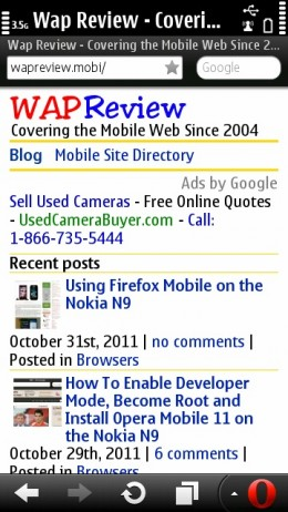 Opera Mini 6.5 (Symbian) Status Bar and Bookmark Star