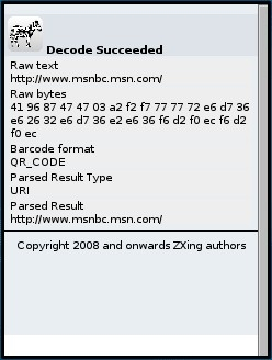 ZXing Decoded Bar Code