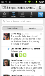 New Twitter Mobile Webapp - Connect Tab