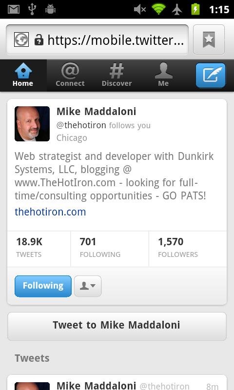 New Twitter Webapp - Profile Page