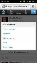 New Twitter Webapp - Hidden DM Option on Profile