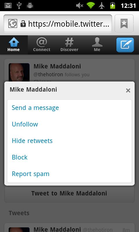 New Twitter Webapp - Hidden DM Option on Profile