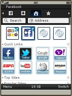 UC Browser 8.0 Java Home Screen