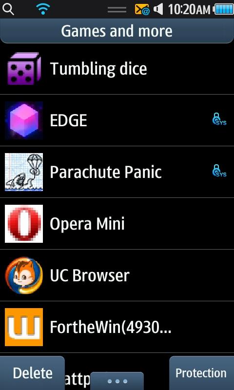 "Samsung Wave - ""Games and more"" Menu"