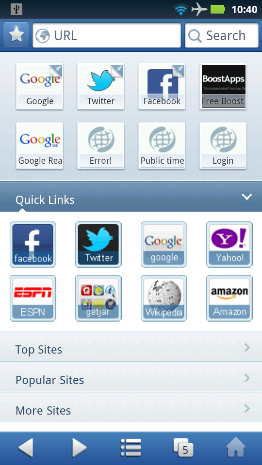 UC Browser 8.0.4 Favorites Home Screen