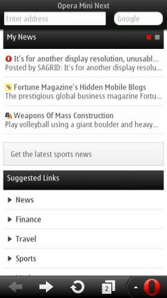 Opera Mini Next Symbian Smart Page