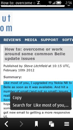 Nokia Belle Browser - Copy Text