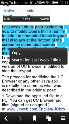 Nokia Belle Browser - Copy Text From a Web Page