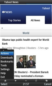 UC Browser 8.2 Yahoo News with Browser Menu