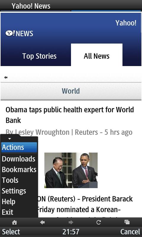 UC Browser 8.2 Yahoo News with Browser Menu