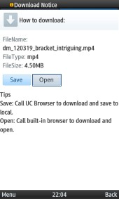 UC Browser 8.2 Video Download Options