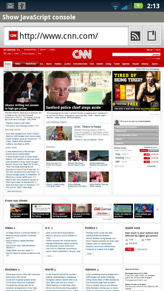 CNN Desktop Site in the Android Browser
