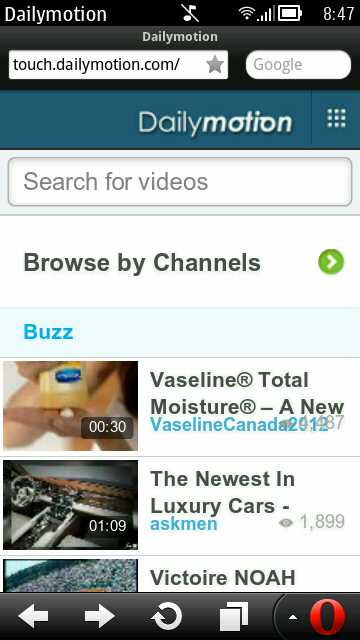 Opera Mobile 12 Update 1 (Symbian) - touch.dailymotion.com