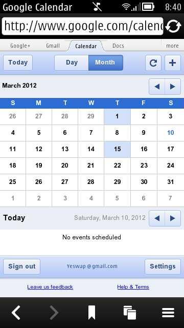 Google Calendar Touch