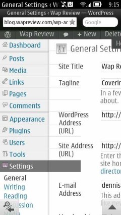 Opera Mini Next Symbian Update 1  - WordPress Dashboard