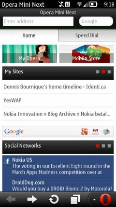 Opera Mini Next Symbian Update 1  - Smart Page