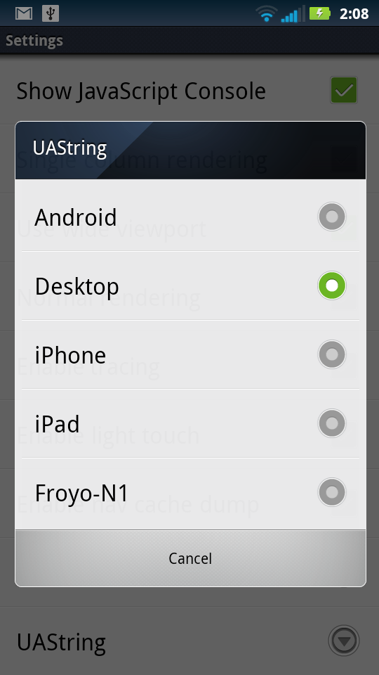 Android Browser Hidden UAString Menu