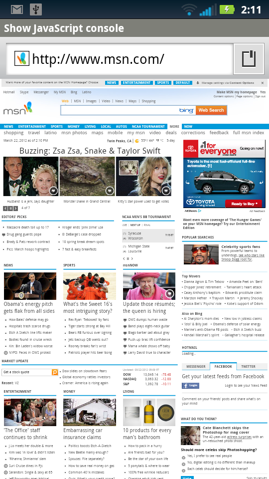 MSN Desktop Site In the Android Browser