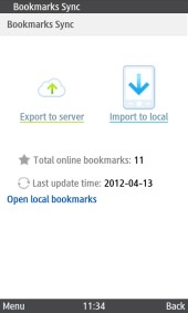 UC Browser 8.2 Java Bookmarks Sync