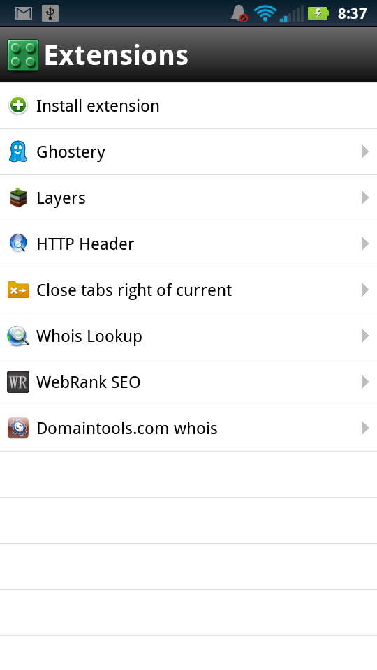 Opera Mobile Extensions Menu