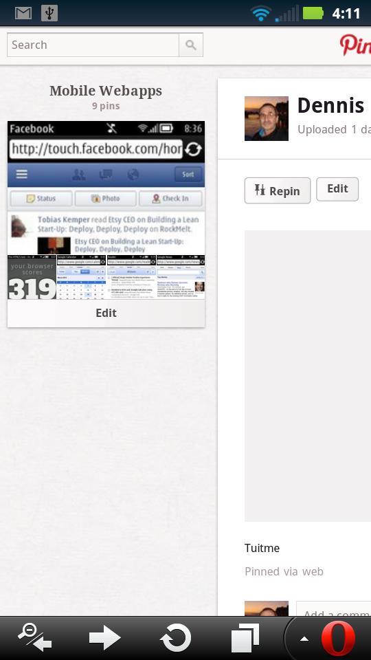 Pinterest - Side Scrolling Edit Screen (left side)