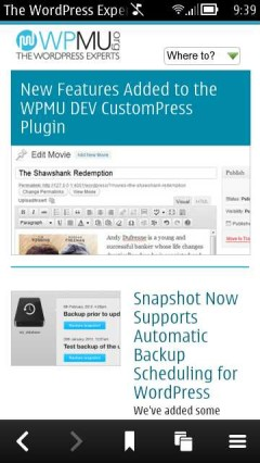 WPMU Homescreen in Symbian Belle Browser