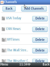 UC Browser 8.2 Symbian N95 Quick Reads Subscribed Channels Menu