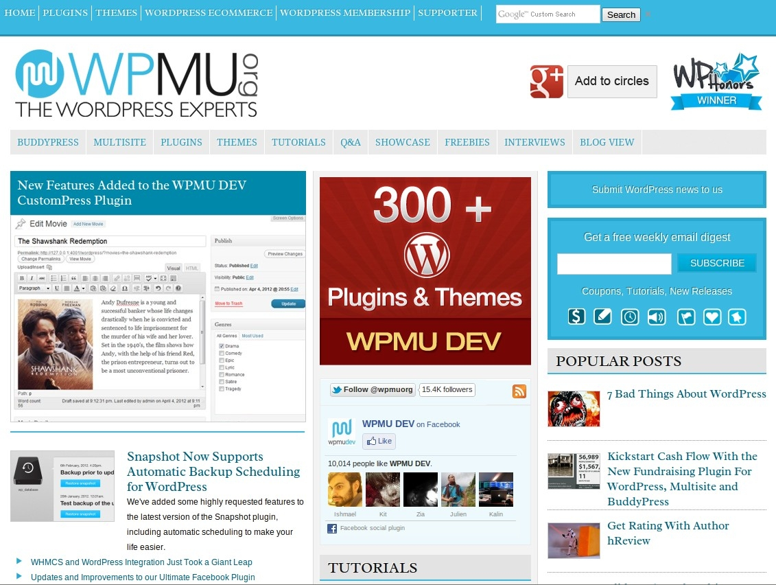 WPMU in Chrome Desktop Browser