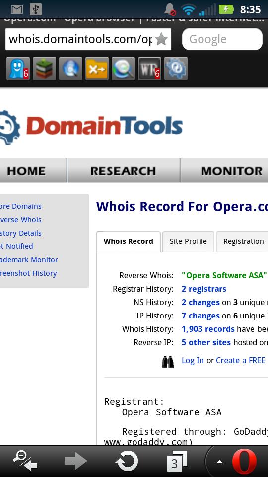 DomainTools Whois Extension